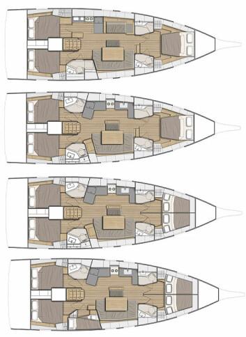 VALG: 45-foteren kan leveres med fire ulike innredningsvalg, fra tre til fem lugarer.