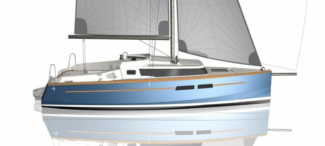 Liten seilbåt med stor motor