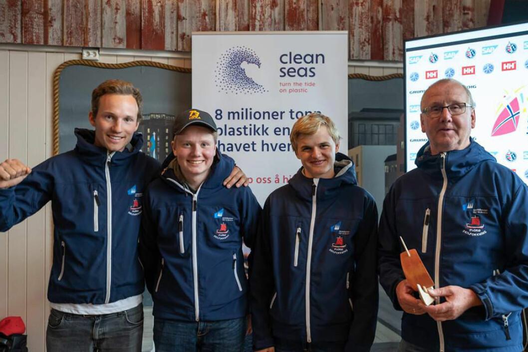 VANT: Seilerne fra Florø var best i Bodø. Fra venstre Fra venstre Even Onstad, Kjetil Karstensen Indrehus, Vegard Reksten Årebråt og Frode Stavang.