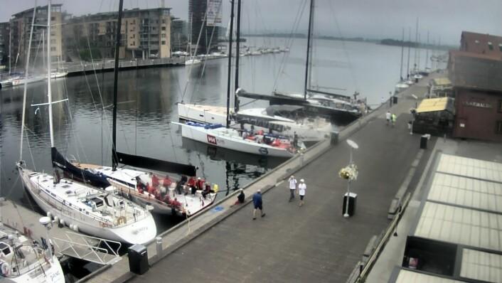 TØNSBERG: Bilde fra webkamera viser at de første båtene alt har fått bryggeplass.