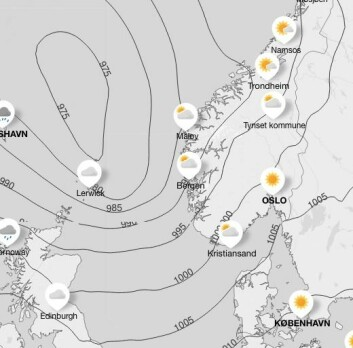 LAVTRYKK: Vinden i Skagerrak torsdag er ingen ting i forhold til i Nordsjøen.