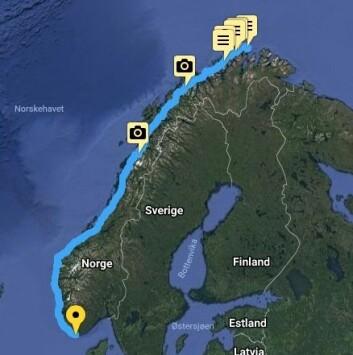 OM BABORD: Turen fra Nordkapp har vart i 48 dager, og har vært på over 1000 nautiske mil.