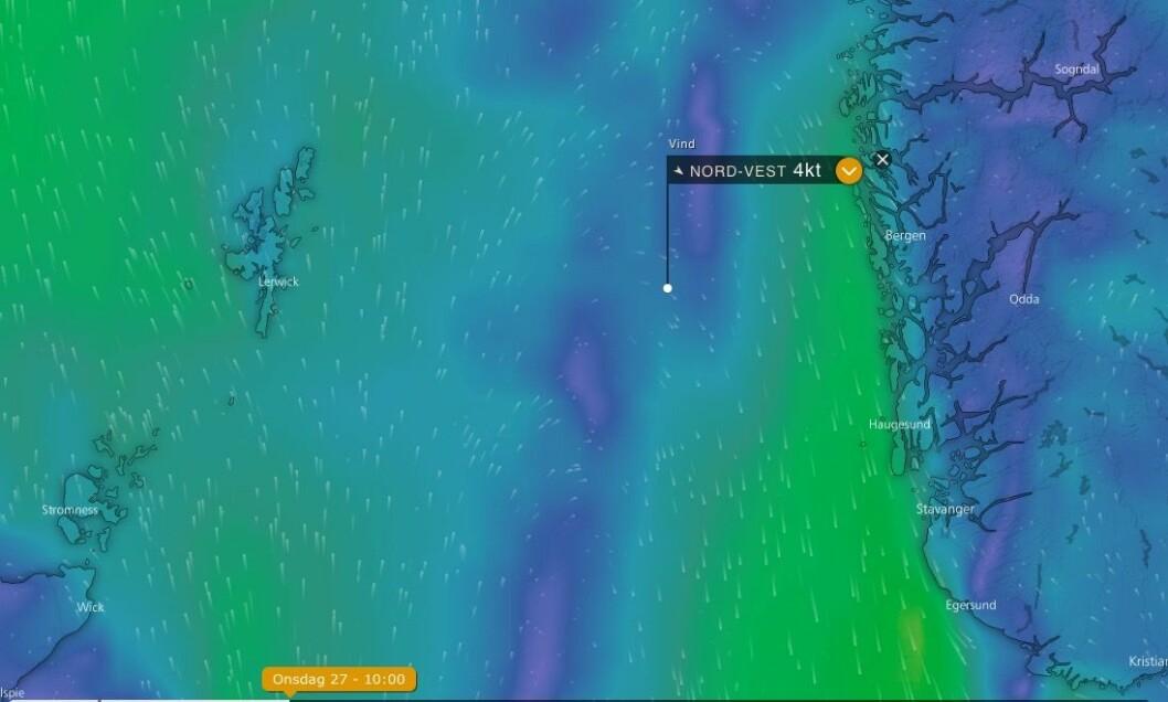 VIND: Det blir ett lett føre over Nordsjøen fra Shetlandseilerne.