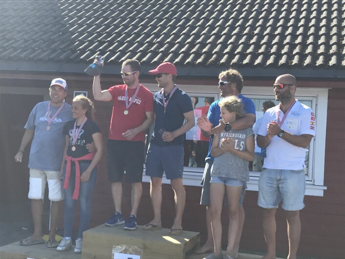 VINNERE:  Seilerspallen for norgesmesterskapet i Snipe 2018.