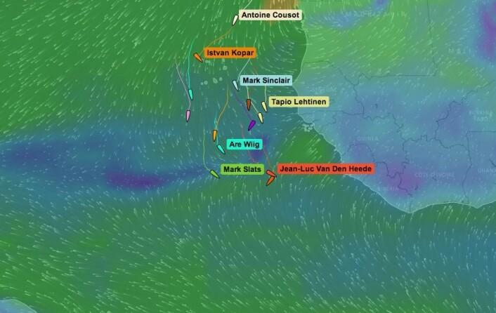 KRYSS: Vinden om tre dager, båtene bak med medvind, og båtene i tet på kryss.