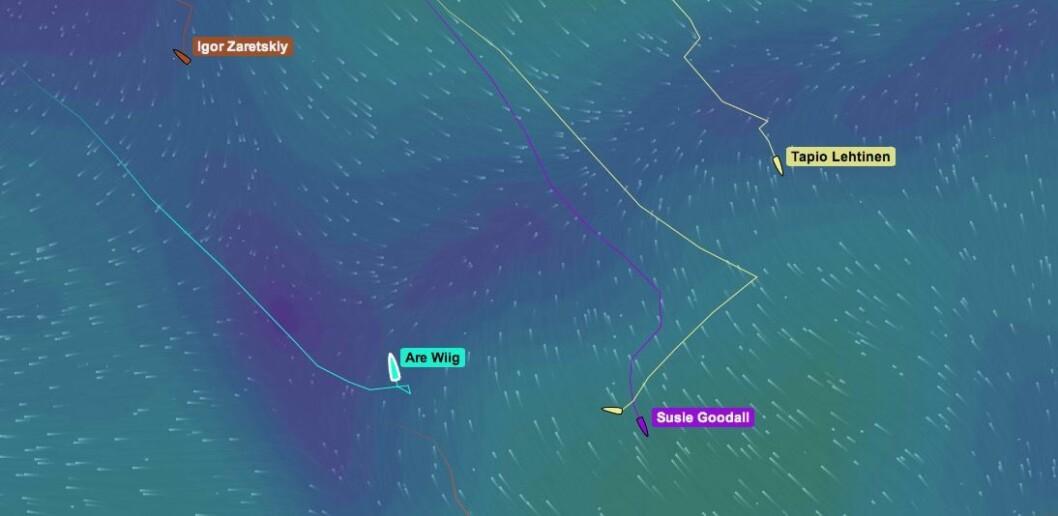 BAKOVER: Are Wiig har negativ distanse på trackingen, og har blitt forbiseilt av tre båter.