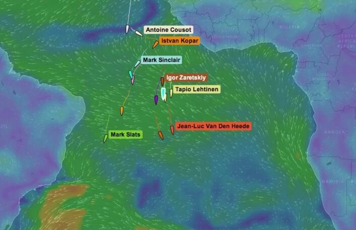STOPP: Om noen dager vil båtene i tet seile inn i lettere vind. Den raskeste veien ned til lavtrykkene i sør, blir neste utfordring.