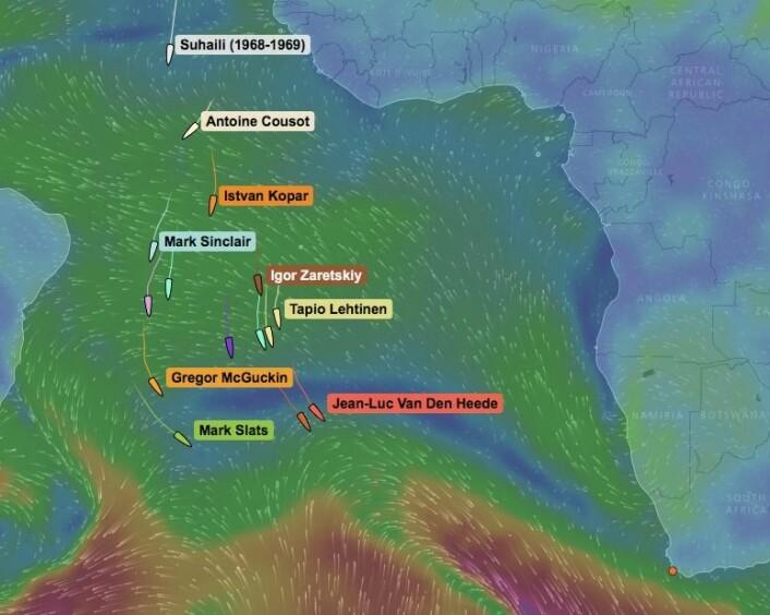 STOPP: Siste hinder før lavtrykkene i syd er å komme forbi høytrykket utenfor Afrika. Mye tyder på at det vil danne seg en sperra av en høytrykksrygg som vil stoppe Are Wiig, men båtene i tet kan slippe unna.