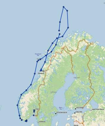 RUTE; «Pelagica»s rute til Bjørnøya i sommer.