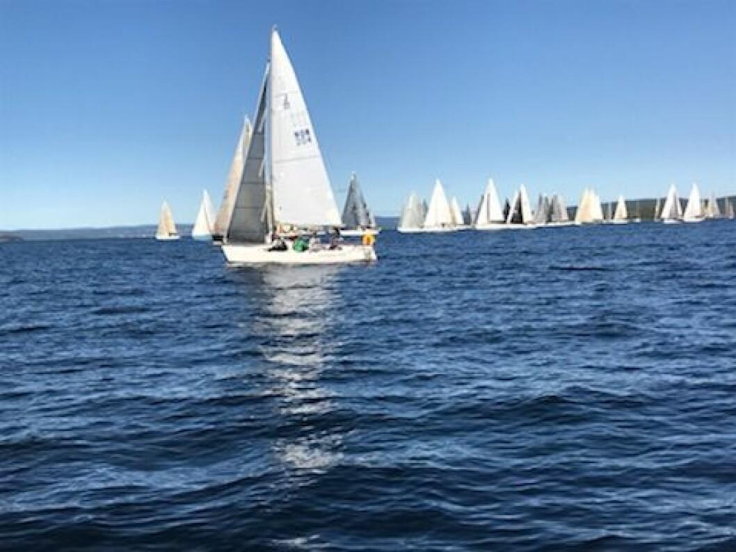 START: Fint driv ut fra start for de første båtene med vind fra vest.