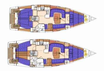 VALG: Øverste båt er standard innredningsløsning. Båten under er det nye alternativet.