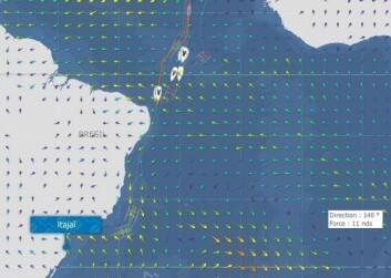MÅL: De strore Trimaranene har bare 500 nm igjen til mål, mens IMOCA 60 har 1600 n.