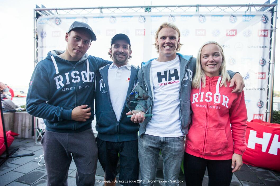 TIL TOPPS: Risør Seilforening vant årets seilsportsliga. Fra venstre Tomas Mathisen, Morten Røisland, Mats Mathisen og Regine Tronstad.