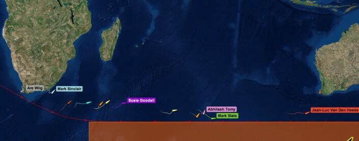 INDISKE HAV: Båten befinner seg 1900 nm fra Australia og er over halvveis av det Indiske Hav.