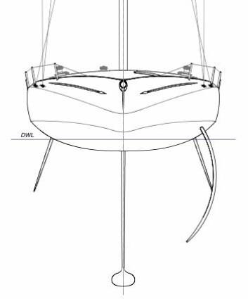 FOILER: Båtens foiler kan beskrives som stikksverd. De vil både hindre avdrift og gi litt løft.