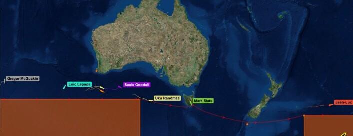 STREKK: Første båt ligger langt ute i Stillehavet, mens andre ikke har langt igjen av Det Indiske Hav.