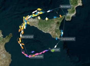 BANE: Hovedfeltet ligger tirsdag morgen på vestsiden av Sicilia.