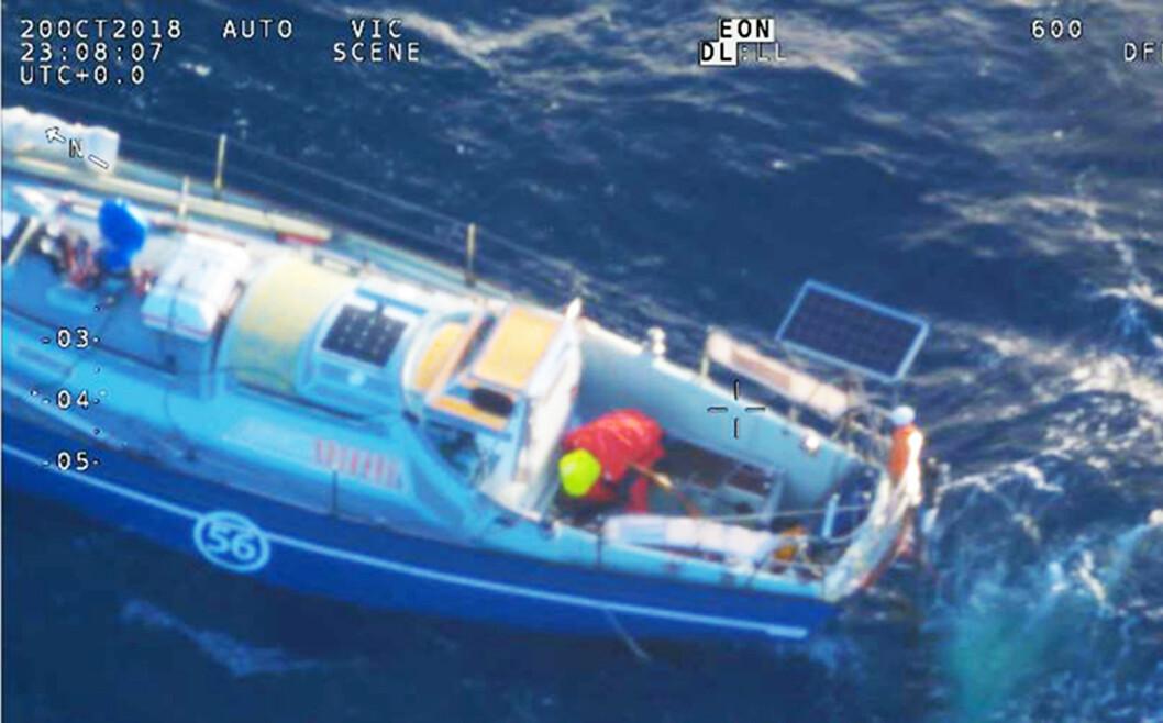 REDDET: Loïc Lepage ble 23. oktober hentet ut fra sin båt i Det Indiske Hav,