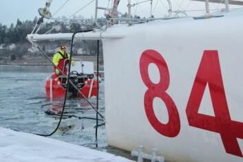SLEP: Isen hadde lagt seg helt ut til Middagsbukta.