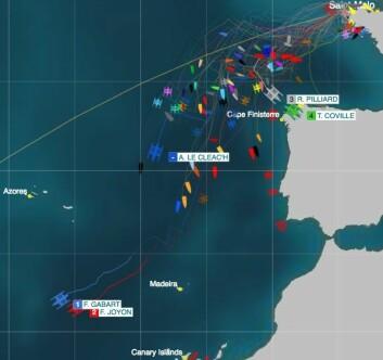 TETT: Idec og Macif startet søndag ettermiddag og ligger nå vest for Kanariøyene. De kan bruke under seks dager til Karibia.