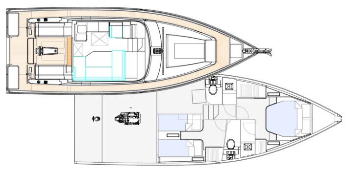 INNREDNING: Moody 41DS får to bad og to lugarer. Planløsningen blir hva man tidligere har sett i motorbåter.
