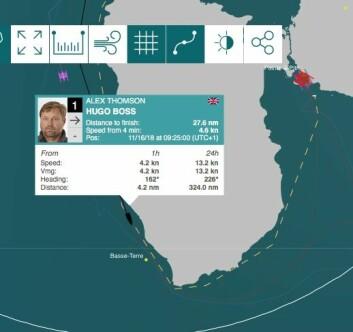 SEILER: Thomson er på farten igjen og gjør 4 knop over grunn, og bør være i mål i ettermiddag, norsk tid.