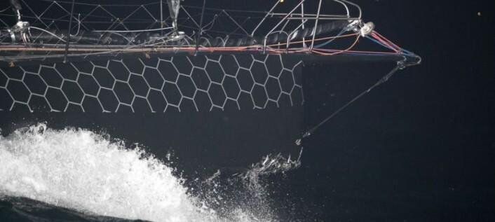 SKADET: Båten ble reddet av kollisjonsboksen i baugen.