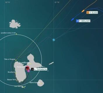 FART: Konkurrentene seiler 17 knop mot mål, men må gjennom områder med mindre vind.