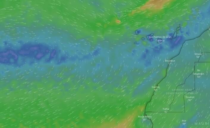 VIND: Det er dårlig vær på Kanariøyene nå, men passaten vil være tilbake til helgen, selv om det blir lett i starten.