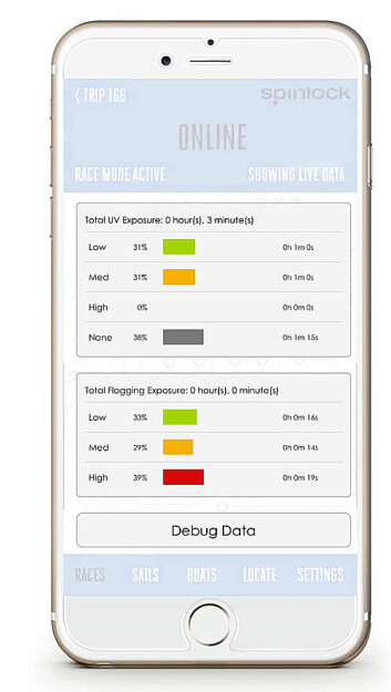 APP: Data fra enheten sendes via Bluetooth. De viser hva slags påkjenninger seilene har blitt utsatt for.