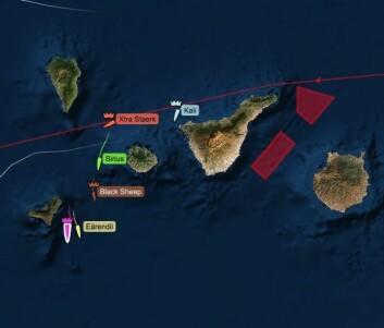 SYDOVER: Båtene kan endelig vende sydover mot passatvind etter en start med kryss.