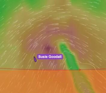 VIND: Goddall driver med 1,5 knop. Lavtrykket er på vei østover, og vinden vil gradvis falle.