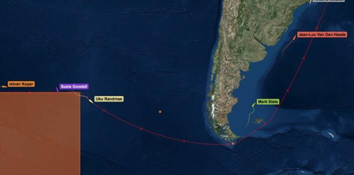 SPREDNING: Det skiller 9370 nm fra første til siste båt.