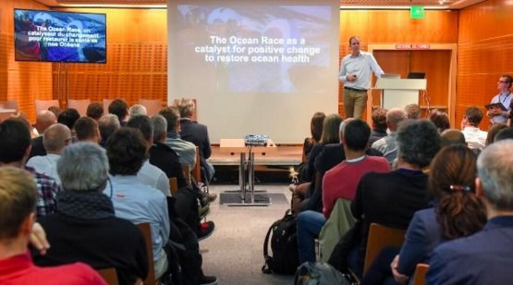 Richard Brisius på presentasjonen av The Ocean Race i Paris