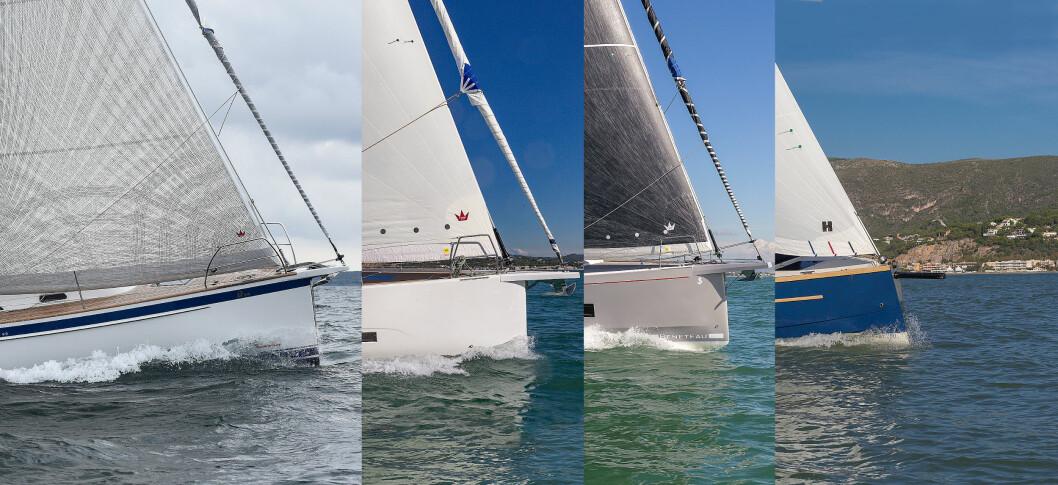 FAMILIETURSEILERE: Hallberg-Rassy 340, Dufour 390, Oceanis 46.1 og Swallow Coast 25 er nominert.