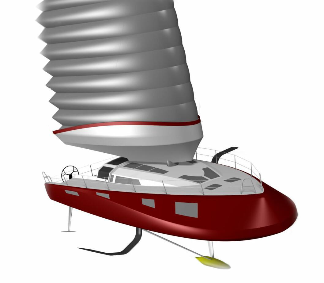VISJON: Slik ser morgendagens seilbåt ut i følge Michel Desjoyeaux.