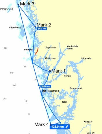 BANE: Regattaen går over 13 nm nordover fra Marstrand med sving innom Lysekil og Fjällbacka.