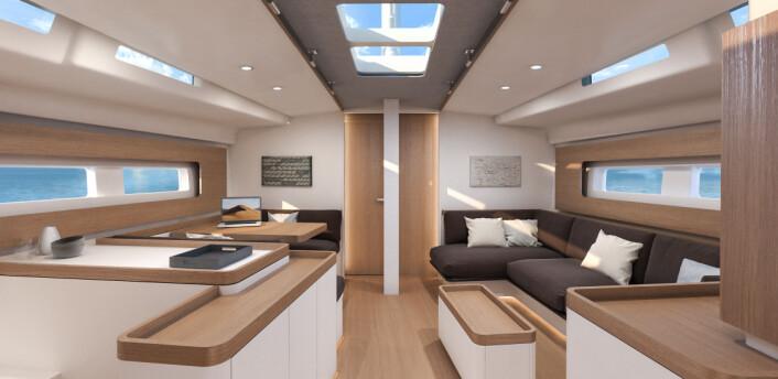 LYS: First Yacht 53 får mange hvite flater i innredningen. Salongen får også en ny vri.