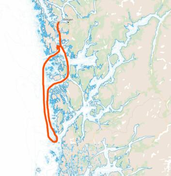 BANE: Start ved Askøy, deretter runding av Ramsholmane på Sletta og til slutt målgang i Lerøyosen.