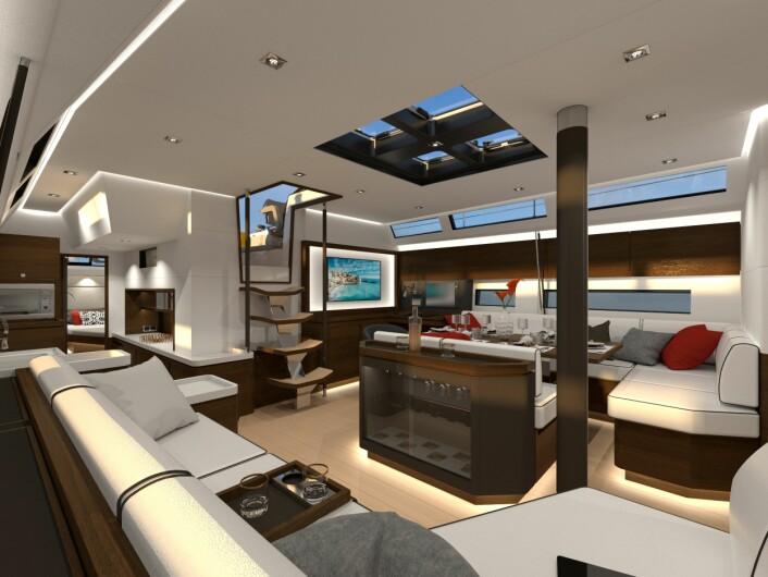 ELEGANT: Amel 60 får et rommelig og elegant interiør, typisk for deres nyere modeller.