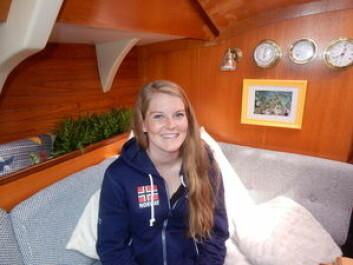 INNBODD: Oda Pedersen Taule har bodd i båten siden april.