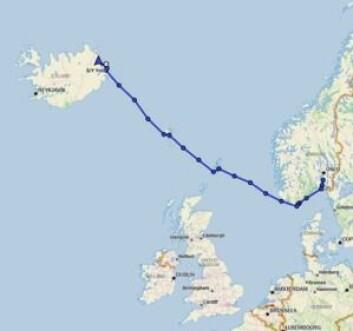 RUTE: Ymir har hatt en rask seilas til Island. Nå går kursen nordøstover mot Svalbard.