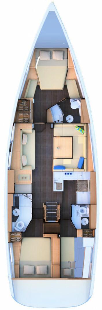 INNREDNING: Båten får tre lugarer og tre bad. Den kan også leveres med stuerom i stede for den minste akterlugaren.