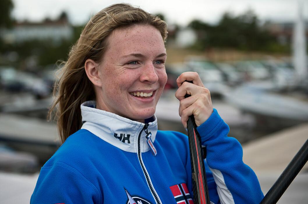 LEDER: Caroline Rosmo har grunn til å smile etter å ha tatt ledelsen etter første dag i ungdom-VM.