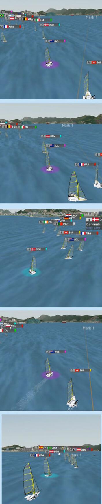 SJEKK: Danmark lå nr 2 på kryssen i fjerde seilas. NZ 8. Begge har fri vind til kryssmerket, men Danmark velger å slå. Danmark seiler seg inn i røkla på layline (bilde 3). Vinde rommer, og NZ står opp ...