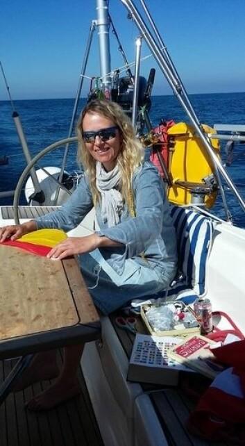 DIY: Tina Bringslimark sydde spansk gjesteflagg på vei over Biscaya.