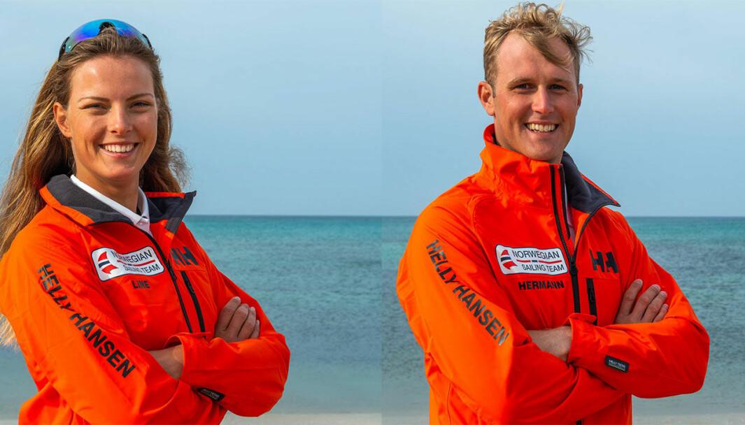 SEILER FOR MEDALJER: Line Flem Høst og Hermann Tomasgaard seiler for medaljer i OL .