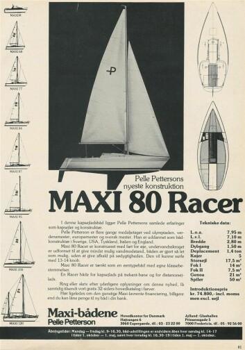 Maxi Racer, nypris i 1979 kr 75000 uten seil
