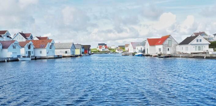 I Kvitsøy ligger hvite hus tett langs vannkanten