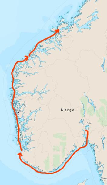 3UKER: Turen startet fra Røyken. Første uken gikk til Tananger, andre uken til Ålesund, og nå befinner båten seg på Hitra.